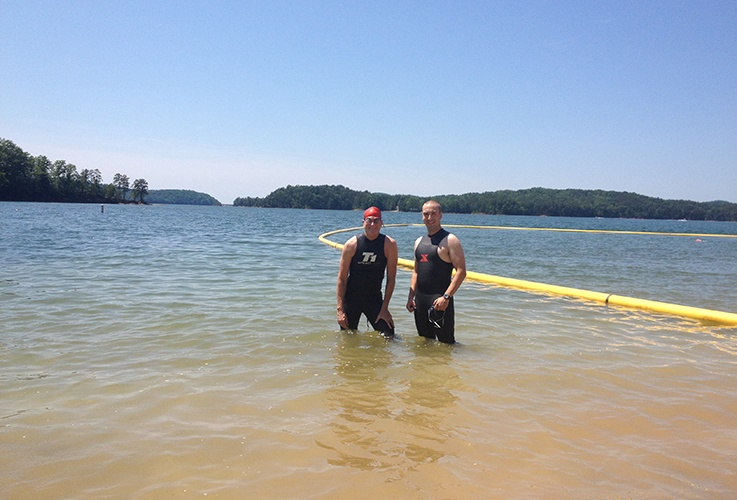 Dr. Pater and another swimmer in water