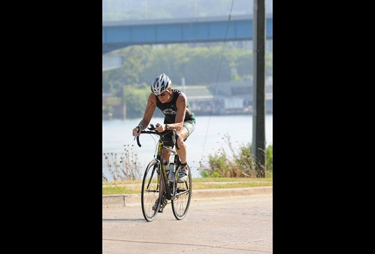 Dr. Pate racing on bike